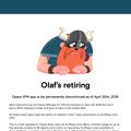写真: Opera VPNがサービス終了で公式HPにアナウンス