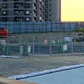 桃花台線の旧車両基地進入高架撤去工事(2018年5月10日) - 5:撤去済みの部分に設置されたフェンス