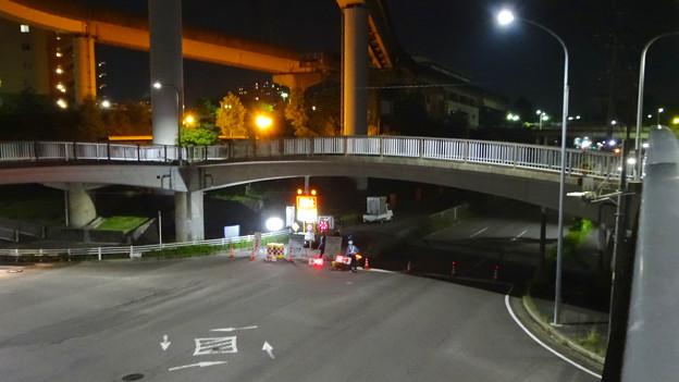 桃花台線の旧車両基地進入高架撤去工事(2018年5月15日) - 1:通行止め区間