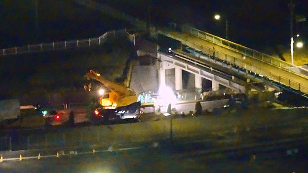 桃花台線の旧車両基地進入高架撤去工事(2018年5月15日) - 7:上から見下ろした工事現場