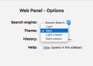 Operaのサイドバー拡張「Web Panel」1.3 No - 6:設定画面(テーマ)
