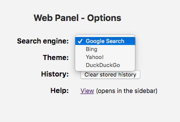 Operaのサイドバー拡張「Web Panel」1.3 No - 7:設定画面(検索エンジン)