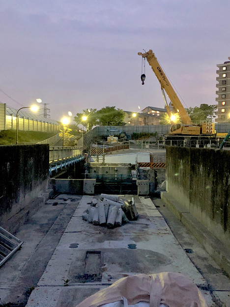 桃花台線の旧車両基地進入高架撤去工事(2018年5月17日) - 12:高架接続部