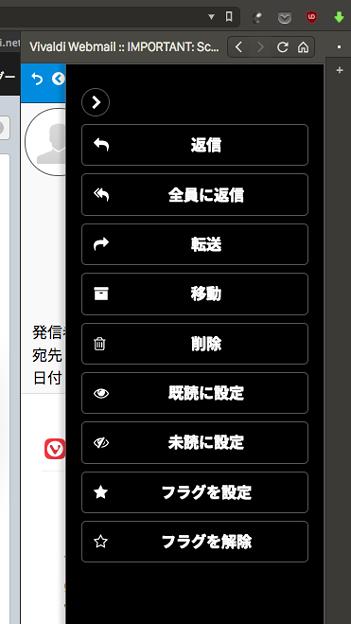 Vivaldi WEBパネル:Vivaldi.NetのWEBメール - 5:返信等