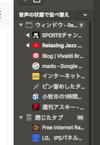 Vivaldi 1.16.1183.3:ウィンドウパネルの並び替え機能 - 2(音声の状態で並び替え)