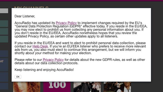AccuRadioもGDPR対応の新たなプライバシーポリシーを発表 - 1:WEB版