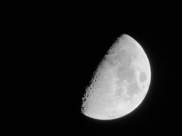 SX730 HSで撮影した半月(修正済み、モノクロ) - 8