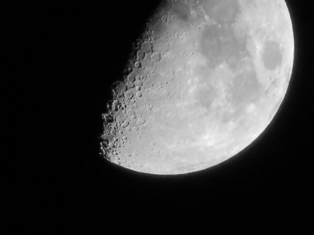 SX730 HSで撮影した半月(修正済み、モノクロ) - 11