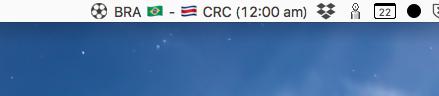 ワールドカップ情報を表示するメニューバーアプリ「WorldCup 2018」- 2:今日の次の試合時刻を表示(※日本時間ではない)