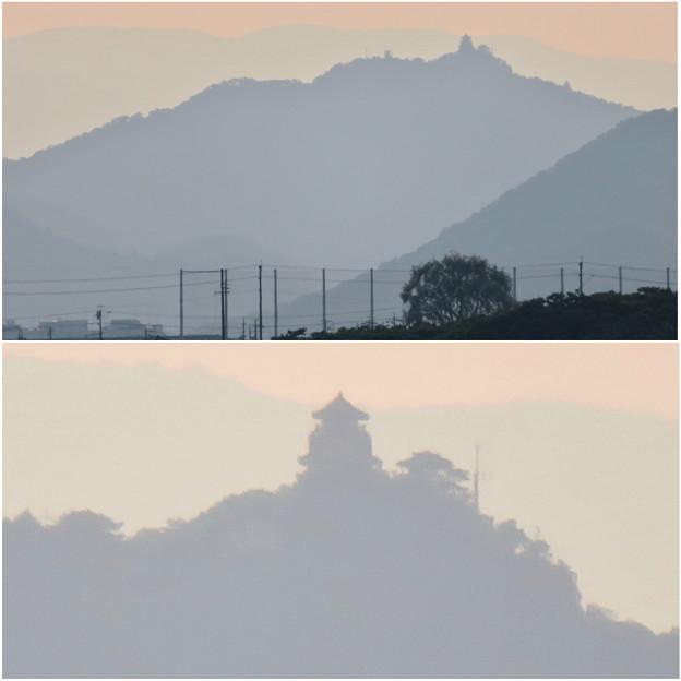犬山丸の内緑地から見えた金華山と岐阜城 - 4