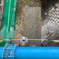 桃花台線の旧車両基地進入高架撤去工事(2018年7月4日) - 4:撤去された橋脚部分の埋め立て