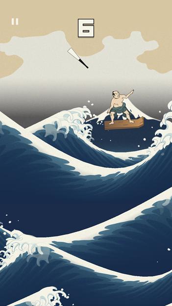 浮世絵風のイラストのサーフィン?ゲーム「うきよウェーブ」- 8