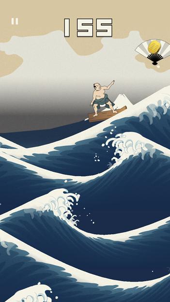 浮世絵風のイラストのサーフィン?ゲーム「うきよウェーブ」- 11