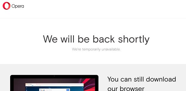 写真: Opera公式ブログにアクセスしたら「We will be back shortly」! - 3
