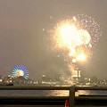 潮見埠頭に架かる橋の上から見た名古屋みなと祭の花火 - 3