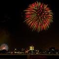 潮見埠頭に架かる橋の上から見た名古屋みなと祭の花火 - 26