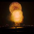 写真: 潮見埠頭に架かる橋の上から見た名古屋みなと祭の花火 - 60