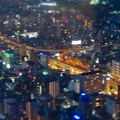 SX730HS ミニチュアライズ:スカイプロムナードから見た夜景 - 3(名古屋高速 明道町JCT)