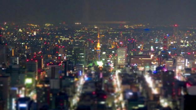 SX730HS ミニチュアライズ:スカイプロムナードから見た夜景 - 8(名古屋テレビ塔)