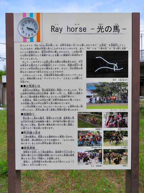 名鉄豊田線「米野木駅」 - 3:駅前オブジェ「光の馬」の説明