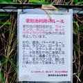 Photos: 愛知池 No - 8:池沿い周回道路に関する注意書き