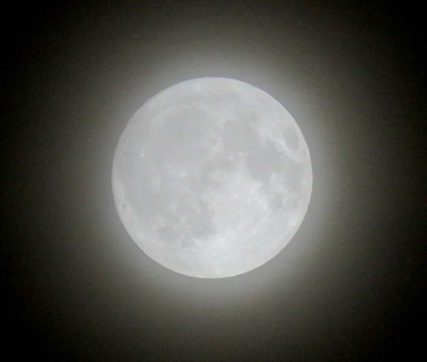 薄曇りの中秋の満月(2018年9月24日) - 6