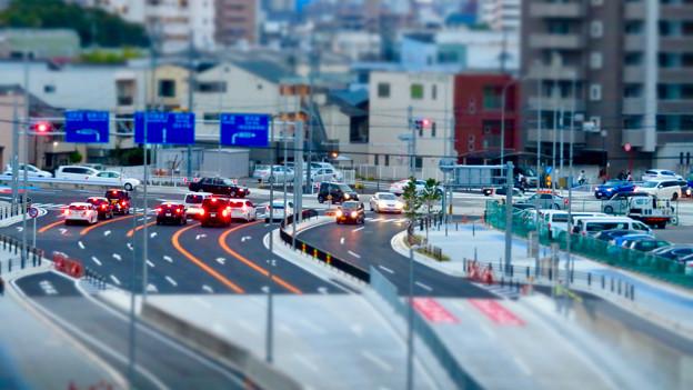 SX730 HS ミニチュアライズ:ささしま米野歩道橋から撮影した交差点 - 2