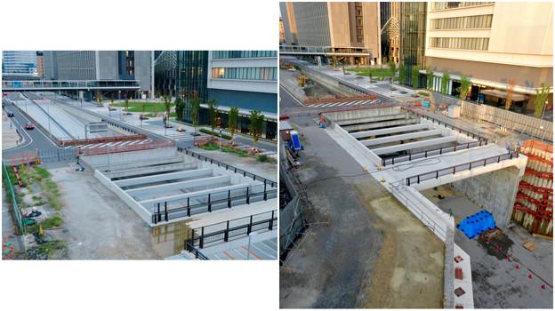 ささしまライブ24:建設中と開通後の笹島線と椿町線の交差点付近の道路 - 2