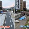 ささしまライブ24:建設中と開通後の笹島線と椿町線の交差点付近の道路 - 5