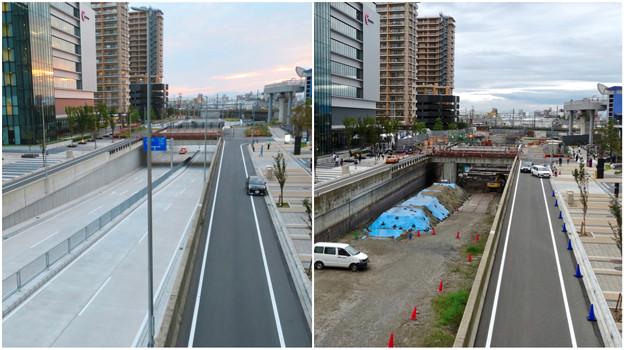 ささしまライブ24:建設中と開通後の笹島線と椿町線の交差点付近の道路 - 6