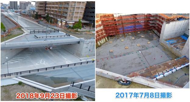 ささしまライブ24:建設中と開通後の笹島線と椿町線の交差点付近の道路 - 7
