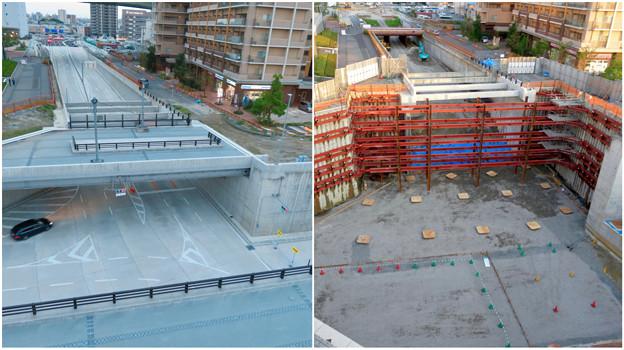 ささしまライブ24:建設中と開通後の笹島線と椿町線の交差点付近の道路 - 10
