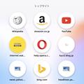 iOS版Opera Touch 1.0.2 No - 43:ホーム画面のトップサイト(PC版と非連携状態)