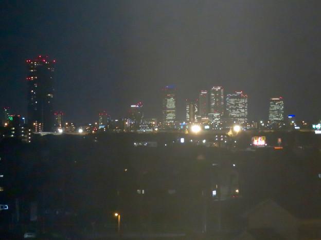 エアポートウォーク名古屋 No - 18:3階フードコートから見た夜のザ・シーン城北と名駅ビル群