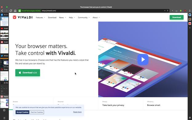 Vivaldi 2 1 1332 4:デスクトップから戻ると上に謎のバー - 1