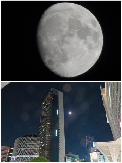 ミッドランドスクエアの横で輝いてた月(2018年10月21日)- 2