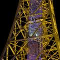 Photos: 真下から見上げた夜の名古屋テレビ塔のエレベーター - 2