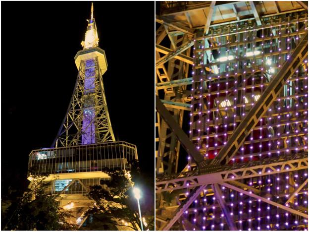 真下から見上げた夜の名古屋テレビ塔のエレベーター - 4
