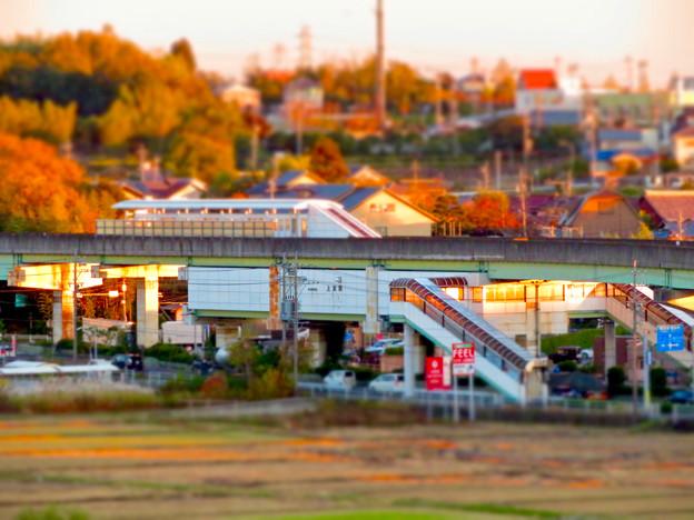 フレッシュパークの展望台から見た旧・桃花台線 上末駅 - 3(ミニチュアライズ)