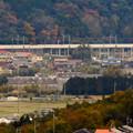 写真: 定光寺展望台から見た景色:愛知環状鉄道の高架 - 2