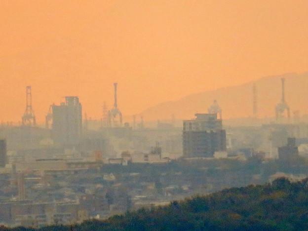定光寺展望台から見た景色:名古屋港の巨大クレーン - 3