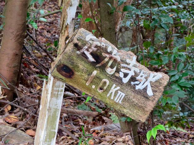 定光寺川沿いの自然歩道(2018年11月18日) - 43:「定光寺駅まで1km」の看板
