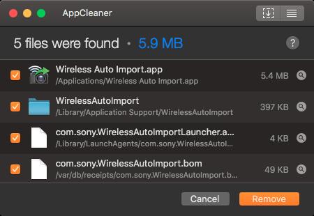 AppCleanerで「ワイヤレス自動取り込み」アプリを関連ファイルごと削除