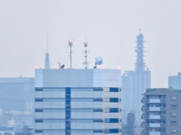 落合公園水の塔から見た名古屋テレビ塔とNTTドコモ名古屋ビル