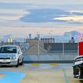 ららぽーと名古屋みなとアクルス駐車場から見た景色 - 7:シートレインランドの観覧車と様々な名古屋港の巨大建造物