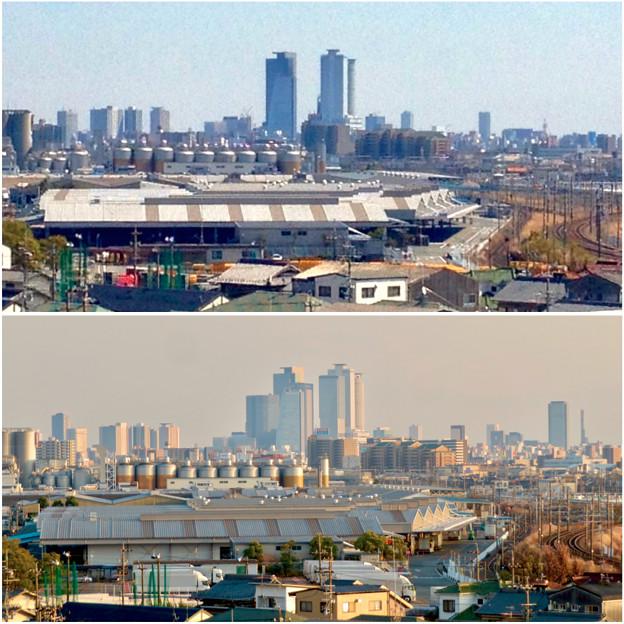 清洲城天守閣から見た景色:2012年と2019年の名駅周辺比較 - 4