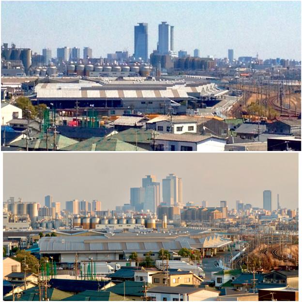 清洲城天守閣から見た景色:2012年と2019年の名駅周辺比較 - 3