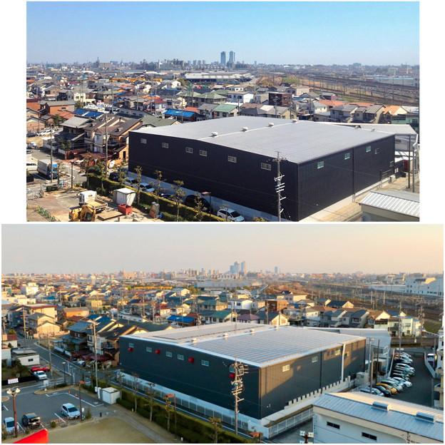 清洲城天守閣から見た景色:2012年と2019年の名駅方面比較 - 2