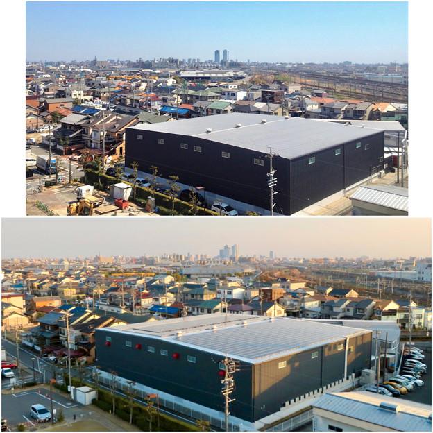 清洲城天守閣から見た景色:2012年と2019年の名駅方面比較 - 1