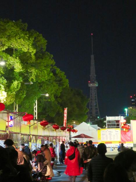 名古屋中国春節祭 2019(夜間)No - 1:改修工事でイルミネーションが点灯してない名古屋テレビ塔
